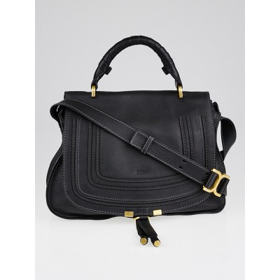 Chloe Black Leather Marcie Top Handle Crossbody Satchel Bag