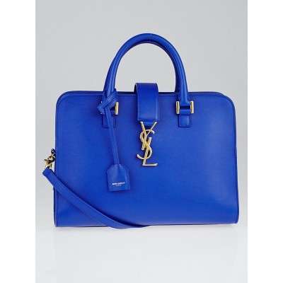 Saint Laurent Blue Calfskin Leather Small Monogram Cabas Bag