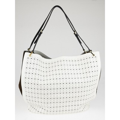 Tod's White Leather Signature Big Bucket Piercing Tote Bag