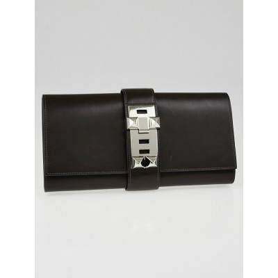 Hermes 29cm Chocolate Box Leather Palladium Medor Clutch Bag