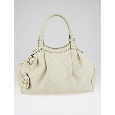 Gucci White Guccissima Leather Medium Sukey Tote Bag