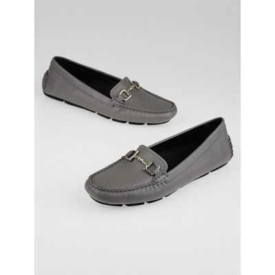 Gucci Grey Leather Horsebit Driving Loafers Size 6.5/37