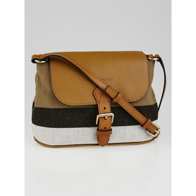 Burberry Saddle Brown Leather House Check Canvas Small Gowan Crossbody Bag
