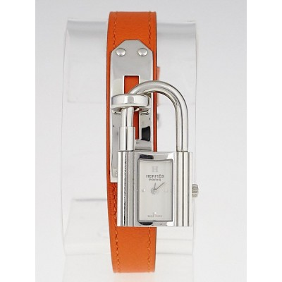 Hermes Orange Courchevel Leather Palladium Plated Kelly PM Watch