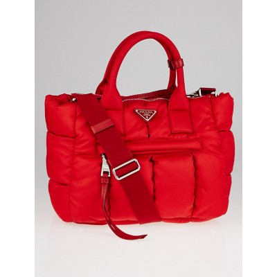 Prada Red Quilted Puffy Tessuto Nylon Tote Bag