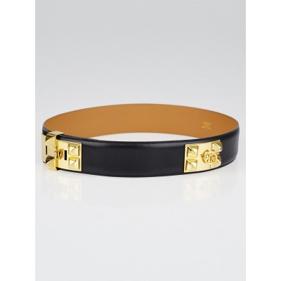 Hermes Black Box Leather Gold Plated Collier de Chien Belt Size 70