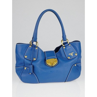 Prada Cobalto Vitello Daino Leather Shopping Tote Bag