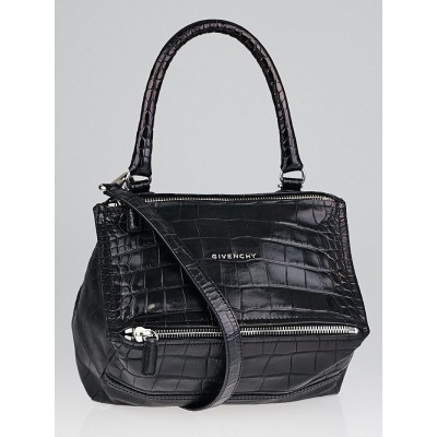 Givenchy Black Croc Embossed Leather Small Pandora Bag