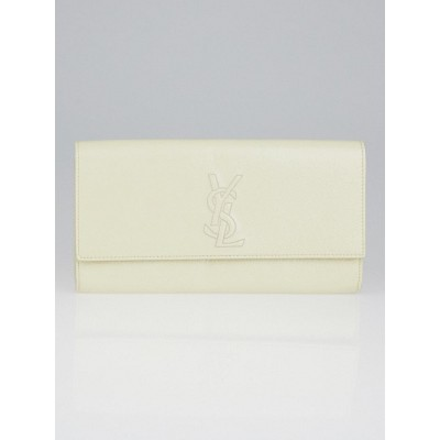 Yves Saint Laurent White Crinkled Patent Leather Small Belle du Jour Clutch Bag