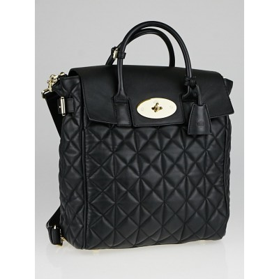 Mulberry Black Quilted Nappa Leather Cara D Large Backpack Bag