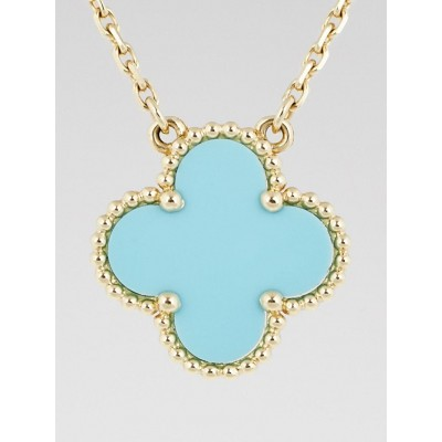 Van Cleef & Arpels 18k Yellow Gold and Turquoise Vintage Alhambra Pendant