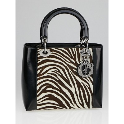 Christian Dior Black Patent Leather and Zebra Pony Hair Small Lady Dior Bag