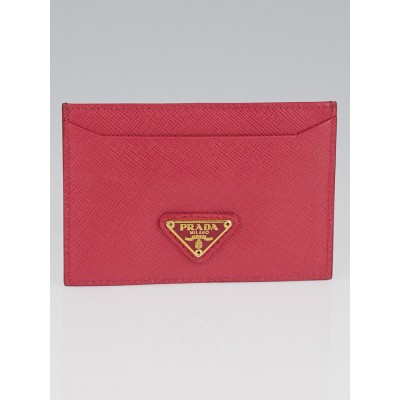 Prada Pink Saffiano Leather Card Case Holder