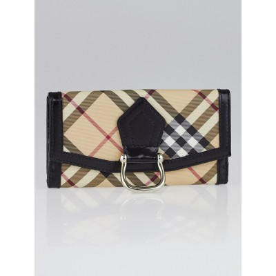 Burberry Supernova Check Coated Canvas Large D-Ring Wallet
