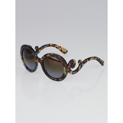 Prada Blue and Brown Tortoise Shell Oversized Round Frame Baroque Sunglasses - SPR27N