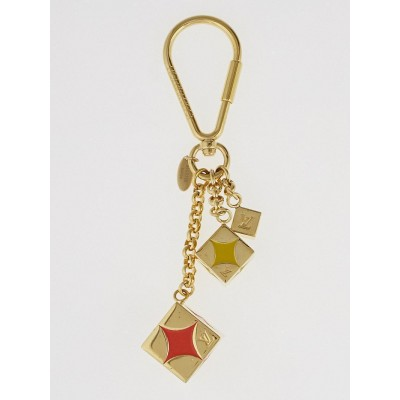 Louis Vuitton Goldtone Metal Damier Cubs Key Holder and Bag Charm