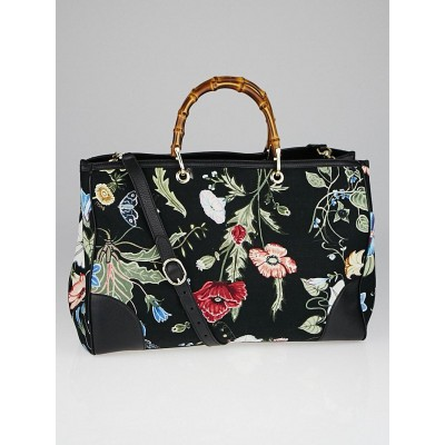 Gucci Black Floral Canvas Large Bamboo Shopper Tote Bag