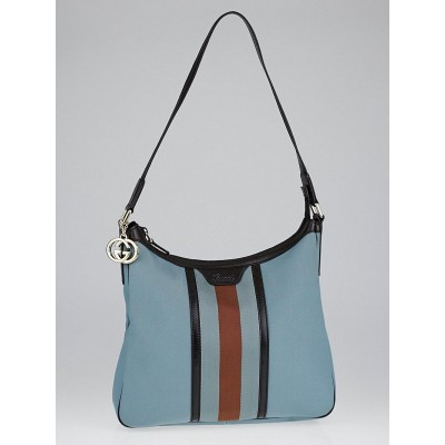 Gucci Blue Nylon and Vintage Web Strip Shoulder Bag