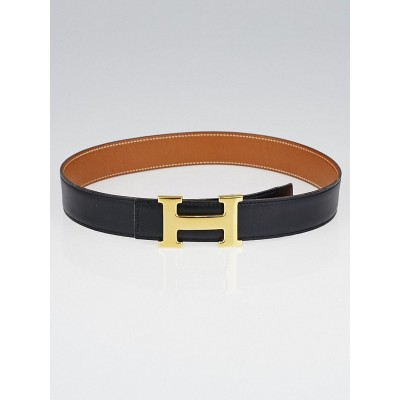 Hermes 32mm Black Box / Gold Courchevel Leather Gold Plated Constance H Belt