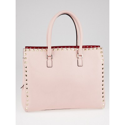 Valentino Pink Leather Rockstud Top Handle Tote Bag