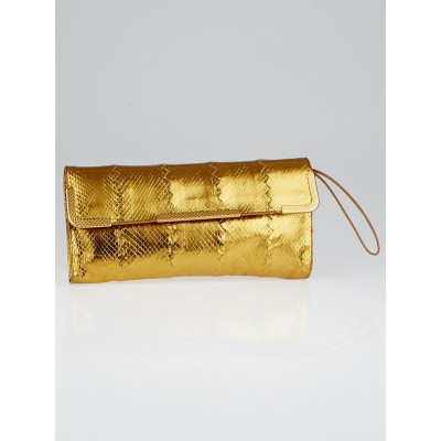 Bottega Veneta Gold Intrecciato Ayers Metal Trim Wristlet Clutch Bag