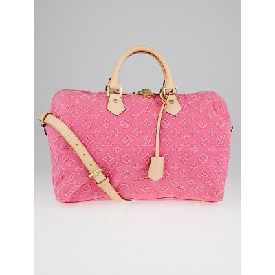 Louis Vuitton Limited Edition Pink Monogram Stone Speedy Bandouliere 35 Bag