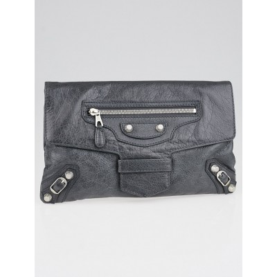 Balenciaga Gris Tarmac Lambskin Leather Giant 12 Silver Clutch Bag