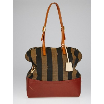 Fendi Brown Leather and Tobacco Pequin Stripe Canvas 2Bag Colorblock Tote Bag 8BN232