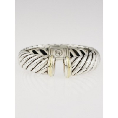 David Yurman Sterling Silver and 18K Gold Cable Cuff Bracelet