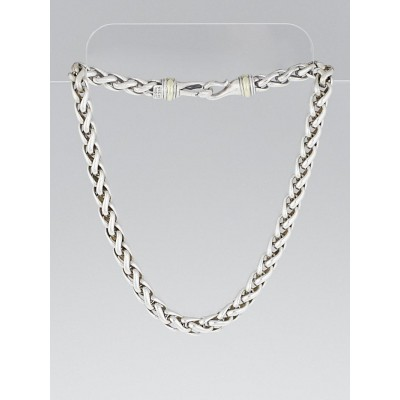 David Yurman Sterling Silver and 14k Gold Wheat Chain Necklace