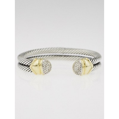 David Yurman Sterling Silver and Diamonds Double Cable Bracelet