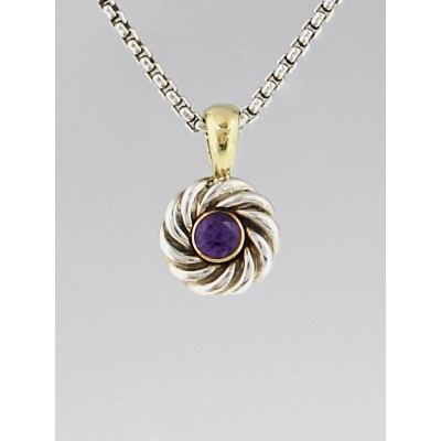 David Yurman Sterling Silver and Amethyst Cookie Pendant Necklace