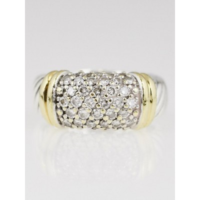 David Yurman Sterling Silver and 18k Gold Pave Diamond Ring Size 5