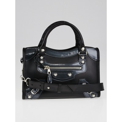 Balenciaga Black Calfskin Leather and Gris Fossile Patent Leather Giant 12 Silver Motorcycle Mini City AJ Bag