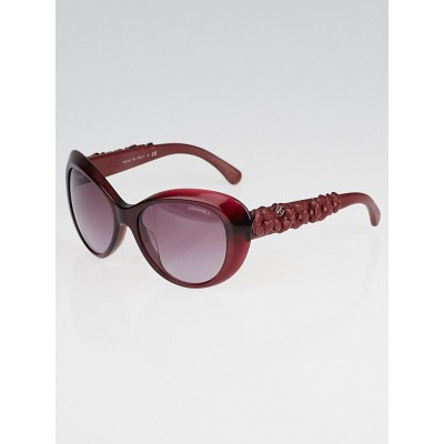 Chanel Red Oversized Frame and Leather Camellia Sunglasses-5318