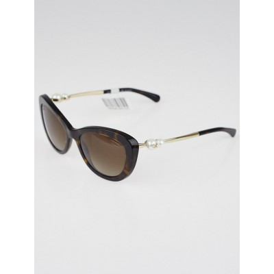 Chanel Tortoise Shell Acetate Frame Pearl CC Sunglasses-5340-H