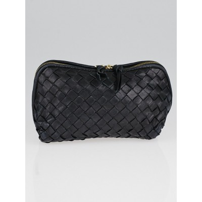 Bottega Veneta Black Intrecciato Woven Nappa Leather Cosmetic Case