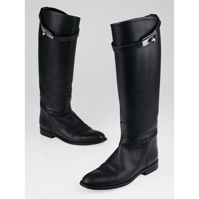 Hermes Black Box Leather Equestrian Boots Size 5.5/36