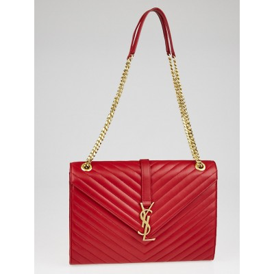 Yves Saint Laurent Red Quilted Grained Leather Large Monogram Chain Bag