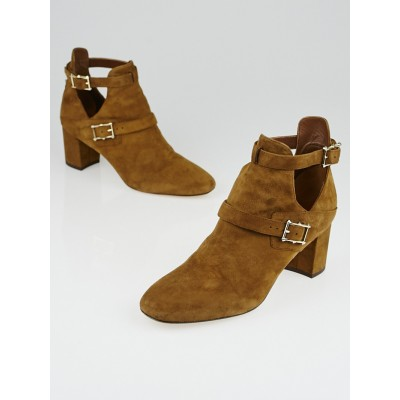 Valentino Brown Suede Hitch On Ankle Boots Size 8/38.5