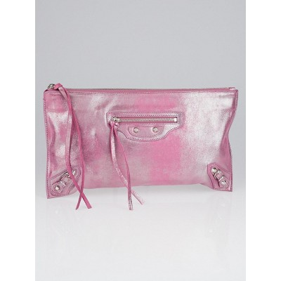 Balenciaga Fuchsia Calfskin Leather Milky Way Papier Clutch Bag