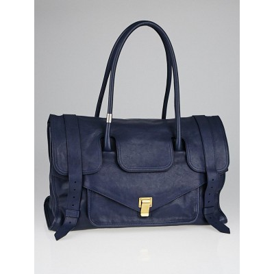 Proenza Schouler Navy Blue Lux Leather Large PS1 Keep All Bag