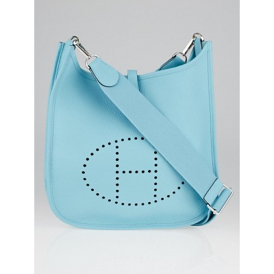 Hermes Blue Atoll Clemence Leather Evelyne III PM Bag