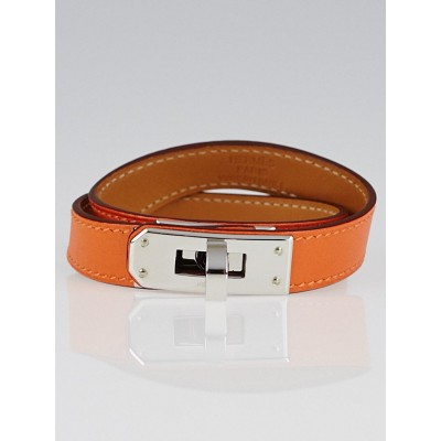 Hermes Orange Swift Leather Palladium Plated Kelly Double Tour Bracelet Size S