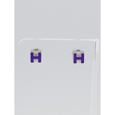 Hermes Ultraviolet Lacquer Palladium Plated Cage d'H Earrings