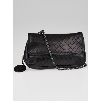 Bottega Veneta Black Intrecciato Woven Nappa Leather Mini Wallet Chain Bag