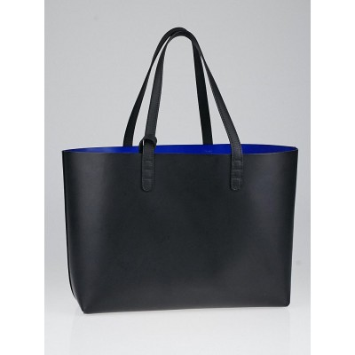 Mansur Gavriel Black/Blue Leather Small Tote Bag