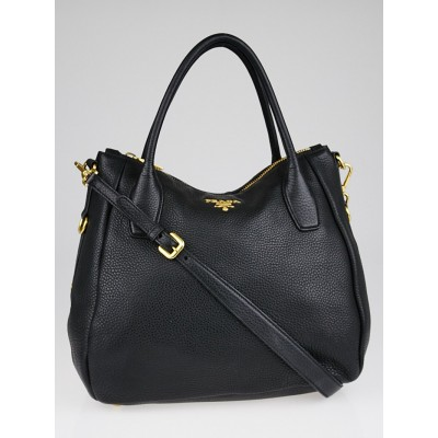 Prada Black Vitello Daino Leather Sacca 2 Manici Hobo Bag BR4992
