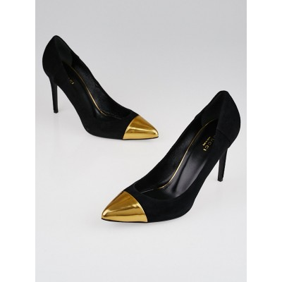Gucci Black Suede Gold Cap Toe Pumps Size 8.5/39