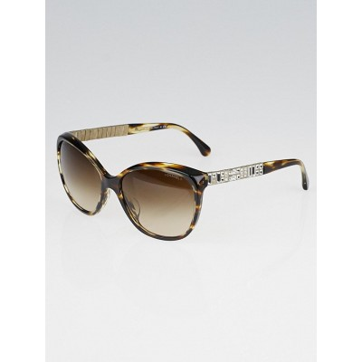 Chanel Brown Tortoise Shell and Crystals Sunglasses-5309